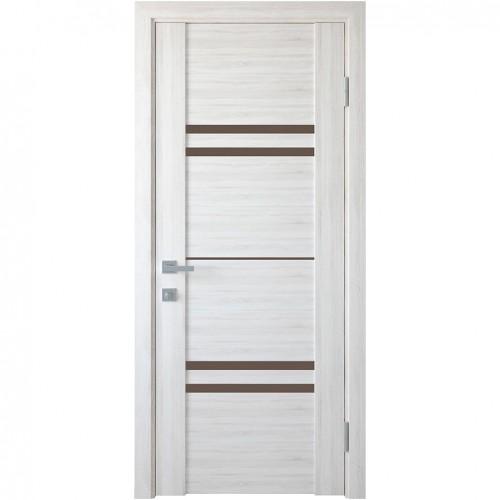 Межкомнатная дверь Мерида со стеклом графит (ПВХ DeLuxe)