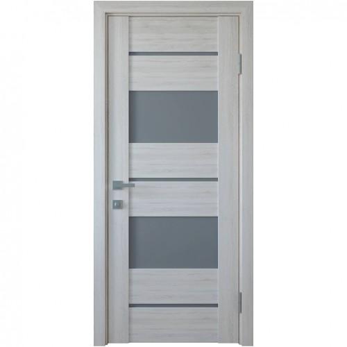 Межкомнатная дверь со стеклом графит Аскона (ПВХ DeLuxe)