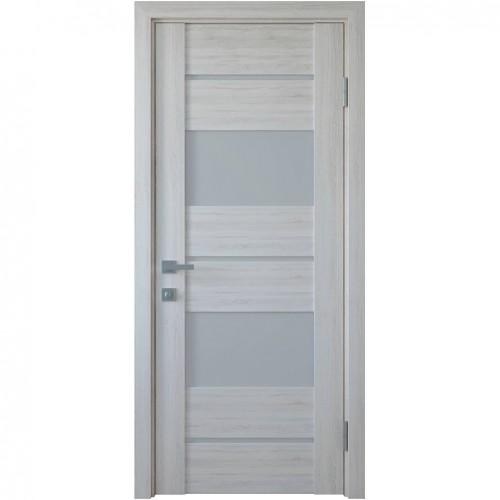 Межкомнатная дверь со стеклом сатин Аскона (ПВХ DeLuxe)