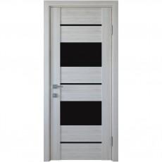Межкомнатная дверь с черным стеклом Аскона (ПВХ DeLuxe)