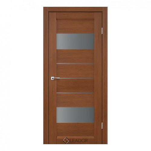 Межкомнатная дверь Arona со стеклом (монблан, матовый и браун)