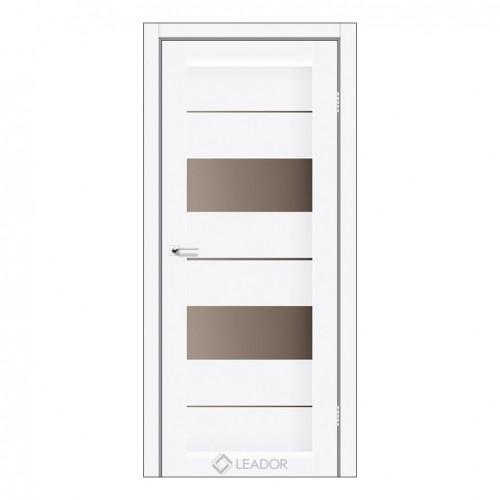 Межкомнатная дверь Canneli со стеклом (монблан, матовый и браун)