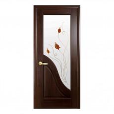 Межкомнатная дверь Амата с цветным стеклом сатин (ПВХ)