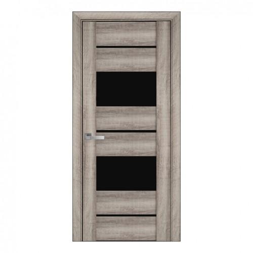 Межкомнатная дверь с черным стеклом Аскона (ПВХ Viva) BLK