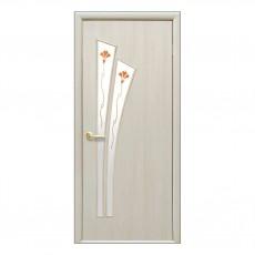 Межкомнатная дверь Лилия со стеклом (с рисунком) Экошпон