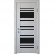 Межкомнатная дверь Ницца с чёрным стеклом (ПВХ Deluxe)