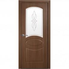 Межкомнатная дверь Овал со стеклом сатин + Р1