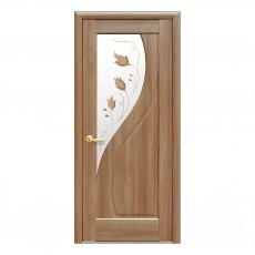 Межкомнатная дверь Прима с цветным стеклом сатин (ПВХ)