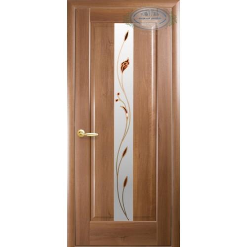 Межкомнатная дверь Премьера с цветным стеклом сатин (ПВХ)