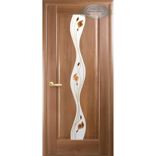 Межкомнатная дверь Волна с цветным стеклом сатин (ПВХ)