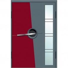 Входные двери со стеклом в дом Альянс БЦ Магнат А18 (двойные)