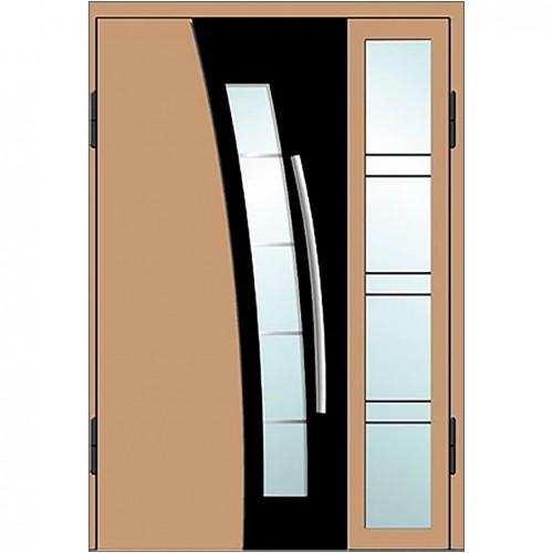 Входные двери со стеклом в дом Альянс БЦ Магнат А19 (двойные)