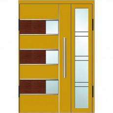 Входные двери со стеклом в дом Альянс БЦ Магнат А21 (двойные)