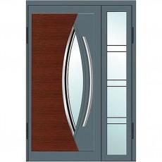 Входные двери со стеклом в дом Альянс БЦ Магнат А24 (двойные)