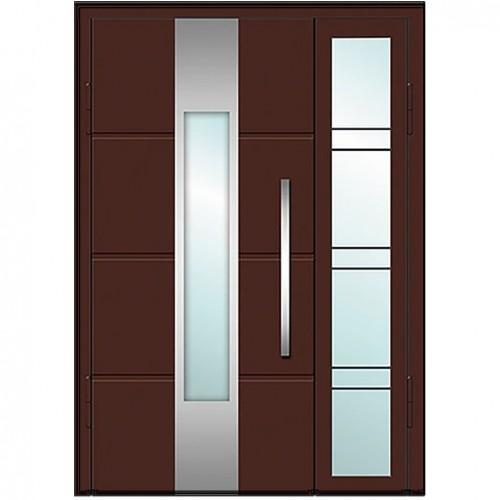 Входные двери со стеклом в дом Альянс БЦ Магнат А4 (двойные)