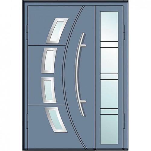Входные двери со стеклом в дом Альянс БЦ Магнат А6 (двойные)