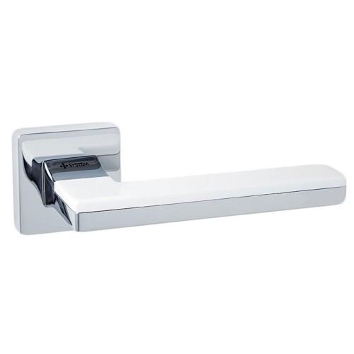 Ручка дверная ТМ System LARISSA Хром / Хром / Белые вставки